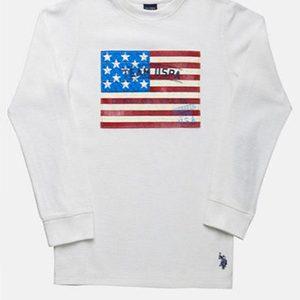 43aefc7c62c07c ЧОЛОВІЧИЙ РЕГЛАН U.S. Polo Assn. LONG SLEEVE FLAG THERMAL · чоловічий  светер великих розмірів PRONTI