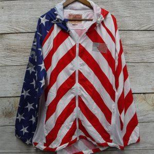 купити чоловічу вітровку великих розмірів PATRIOTIC PRINT WINDBREAKER BY BROOKLYN CLOTH 4Х plussize.com.ua