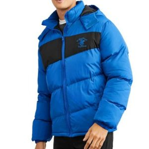 Mens-Hooded-Color-Block-Puffer-Coat-with-Embroidered-Horseman-Logo