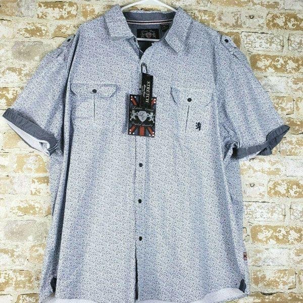 чоловіча сорочка великих розмірів Big-Tall-Grey-Floral-Print-Short-Sleeve-Button-Down-Shirt