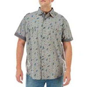чоловіча сорочка великих розмірів Big & Tall Grey Floral Print Short Sleeve Button Down Shirt by LIONSCREST