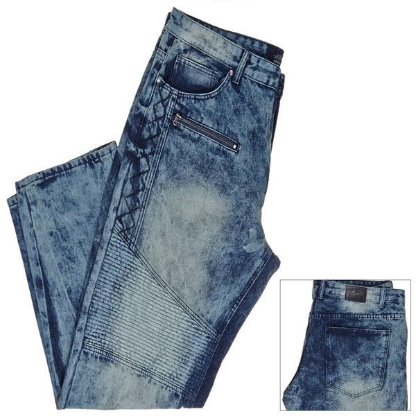 купити чоловічі джински великих розмірів в києві Big & Tall Moto Relaxed Fit Jeans with Zipper and Embroidered Accents TRESTLES