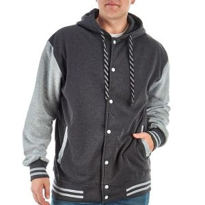 чоловіча толстовка великих розмірів Чоловіча толстовка Big & Tall Hooded Varsity Jacket by ROK 2Х сірий