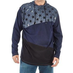 Чоловіче худі великих розмірів Big & Tall Color Block Star Hoodie by Famous Maker 4X navy