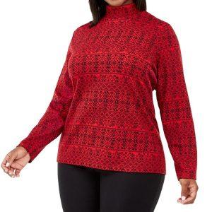 Жіночий светер великих розмірів Karen Scott Plus Size Fair Isle Printed Mock-Neck Top