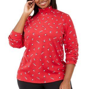 Жіночий светер великих розмірів Karen Scott Plus Size Skiing Penguins Printed Mock-Neck Top