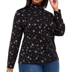 Жіночий светер Karen ScottPlus Size Snowy Glory Printed Mock-Neck Top