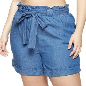 жіночі шорти великих розмірів Plus Size Paper Bag Waist Shorts Denim