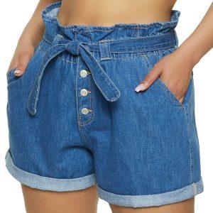 жіночі шорти великих розмірів Plus Size WAX Paper Bag Waist Shorts Denim
