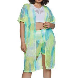 купити халат великих розмірів Plus Size Fishnet Tie Dye Duster